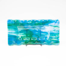 Load image into Gallery viewer, Plate - Green and turquoise rectangular ripple edged platter