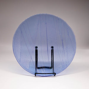 Plate - Clear blue iridescent wave patterned large round platter