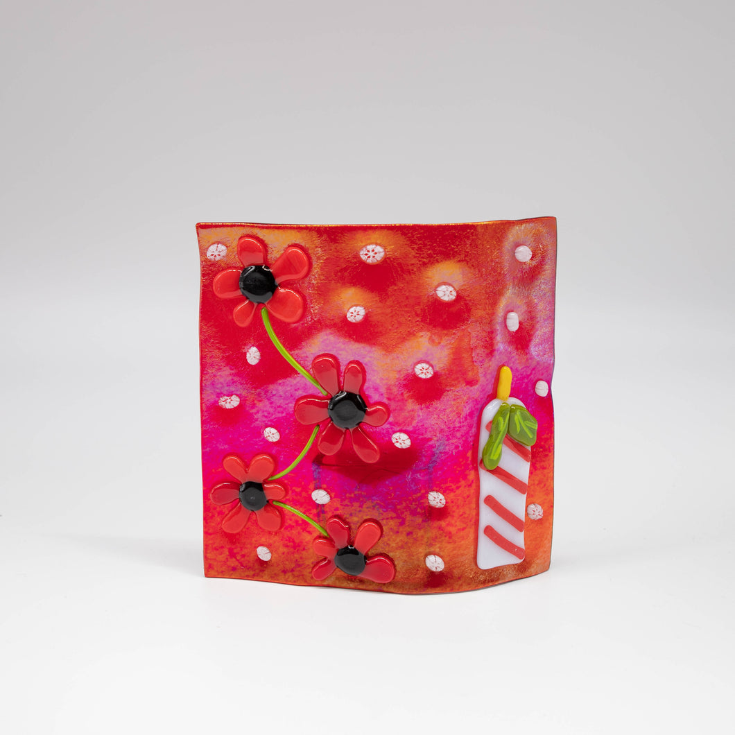 Votive holder - Red iridescent glass decorated with flowers and holiday candle