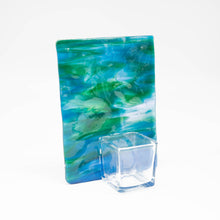 Load image into Gallery viewer, Votive holder - Green and blue tree of life patterned votive