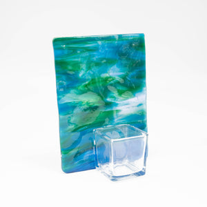 Votive holder - Green and blue tree of life patterned votive