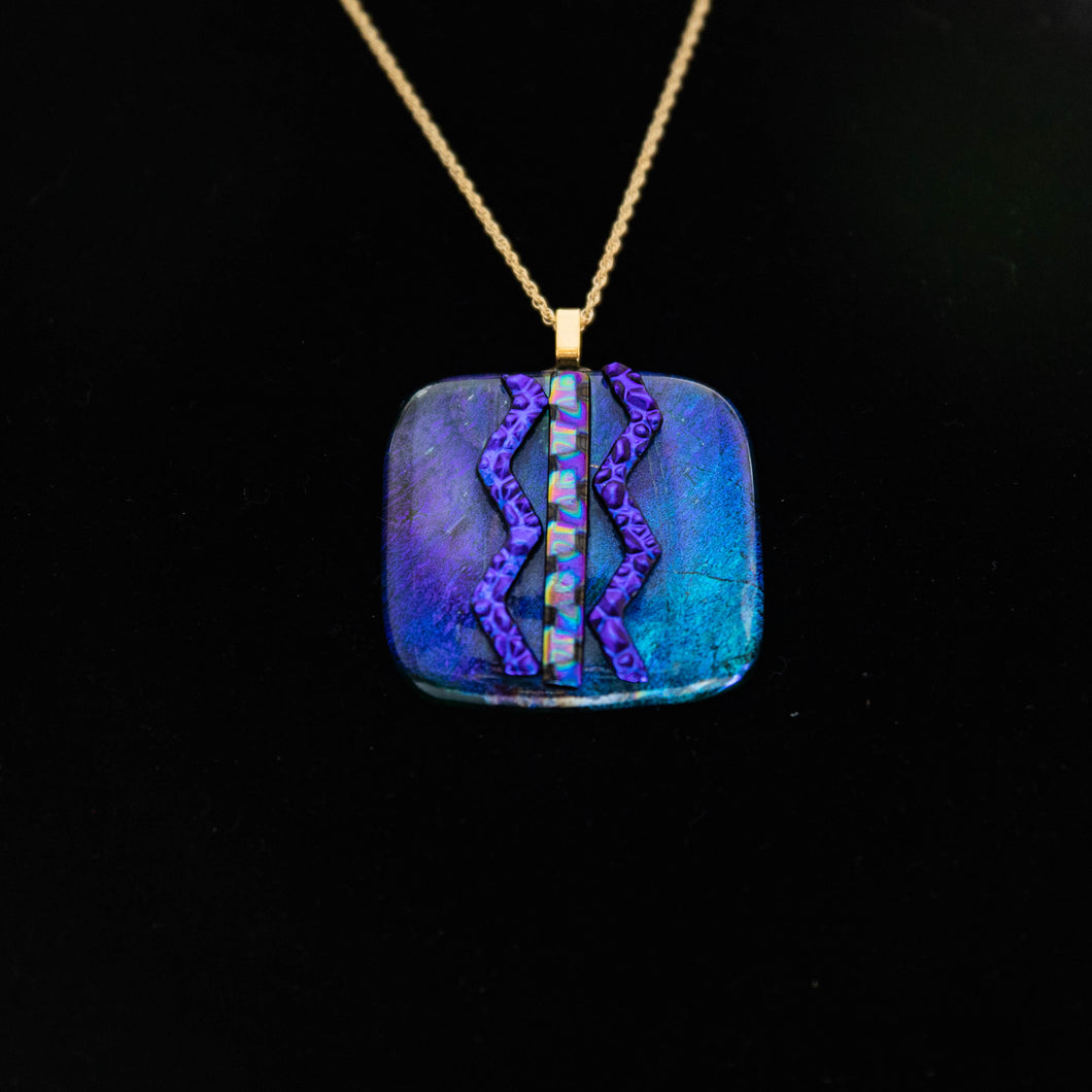 Jewelry - Deep blue square pendant with dichroic chevron