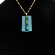 Load image into Gallery viewer, Jewelry -Dichroic turquoise pendant with dichroic lines