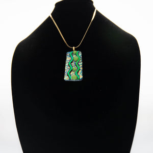 Jewelry - Dichroic green and gold pendant with chevon