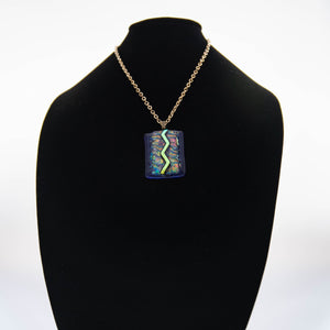 Jewelry - Dark blue pendant with iridescent green and gold