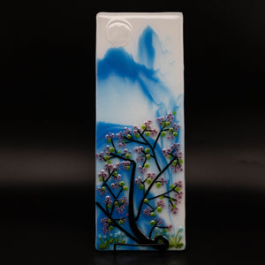 Decorative - Blue mountain scene with cherry blossoms