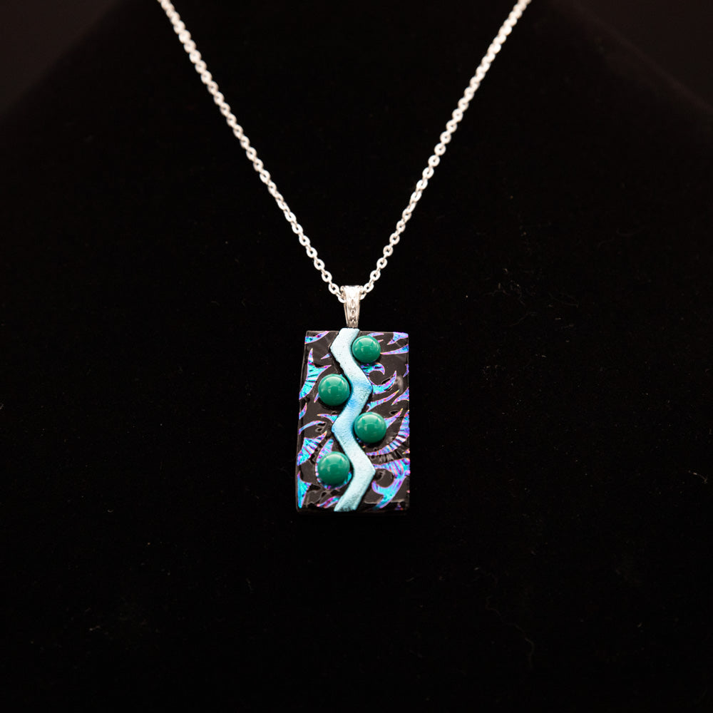 Jewelry - Iridescent purple pendant with river pattern