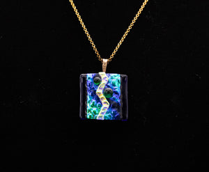 Jewelry - Iridescent blue and teal pendant