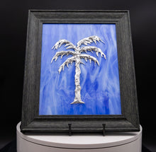 Load image into Gallery viewer, Decorative - Silver palm tree on blue
