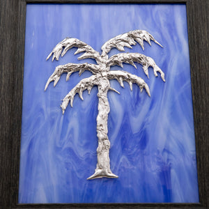 Decorative - Silver palm tree on blue