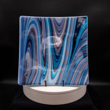 Load image into Gallery viewer, Plate - Teal swirl square platter