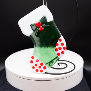 Holiday Stocking - Green with red toes, white polka dots and long red stripes
