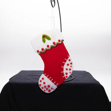 Load image into Gallery viewer, Holiday Stocking - Red with white toes and polka dots