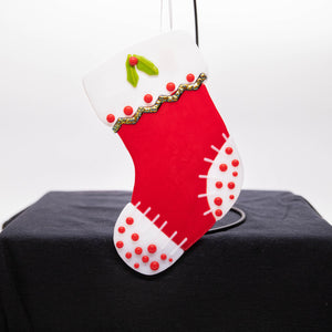 Holiday Stocking - Red with white toes and polka dots