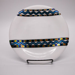Plate - Modern white with dichroic wave