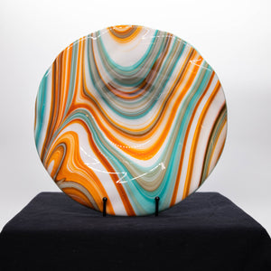 Plate - Orange cream and blue rippled edge bowl