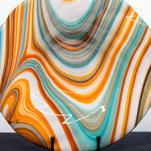 Load image into Gallery viewer, Plate - Orange cream and blue rippled edge bowl