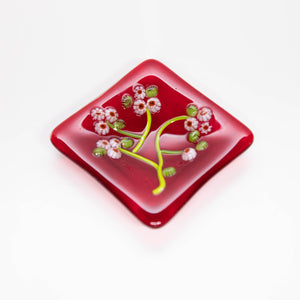 Plate - Red soap dish with cherry blossoms