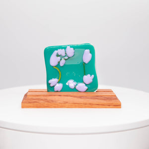 Plate - Turquoise soap dish with blossoms