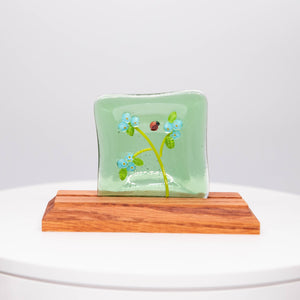Plate - Clear green soap dish with blossoms