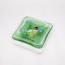 Load image into Gallery viewer, Plate - Clear green soap dish with blossoms