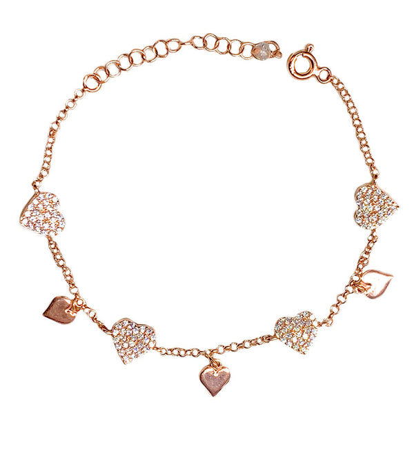Glitter Mixed Hearts Bracelet
