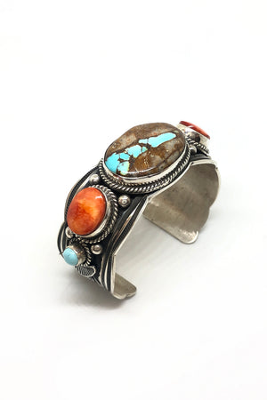 Andy Cadman Boulder Turquoise and Spiny Oyster Cuff Bracelet