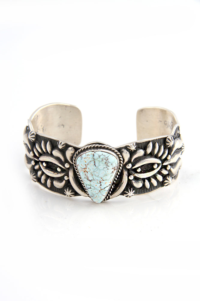 Dry Creek Turquoise Repousse Cuff by artist Darryl Becenti