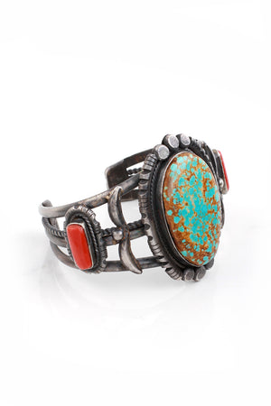 Benson Yazzie Kingman Turquoise and Coral Cuff