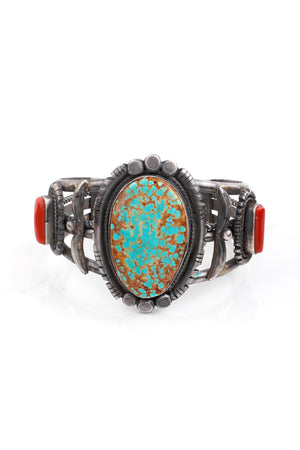Benson Yazzie Unisex Kingman Turquoise and Coral Cuff