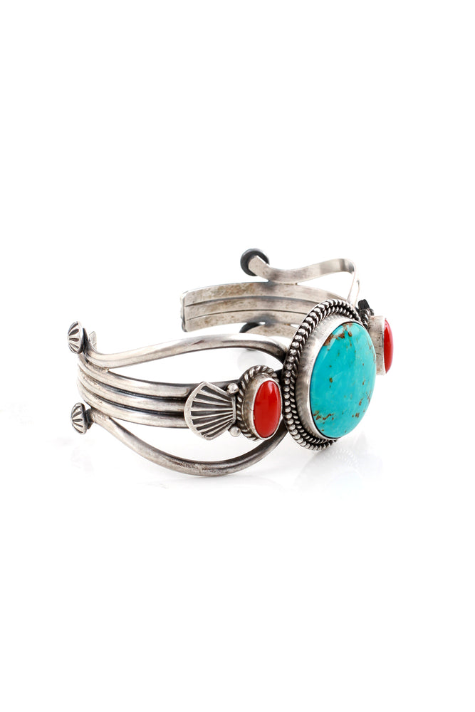 Navajo M&R Calladitto Sterling Silver Turquoise and Coral Cuff