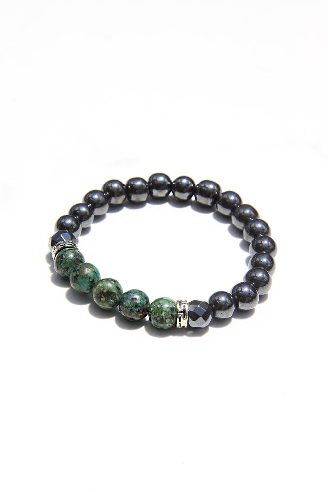 African Turquoise and Hematite Power Bracelet