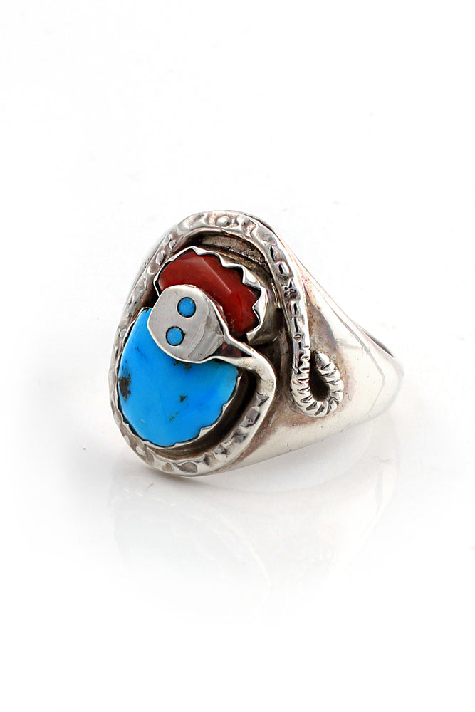 Load image into Gallery viewer, Effie Calavasa Turquoise and Coral Snake Ring (Size 10.75)
