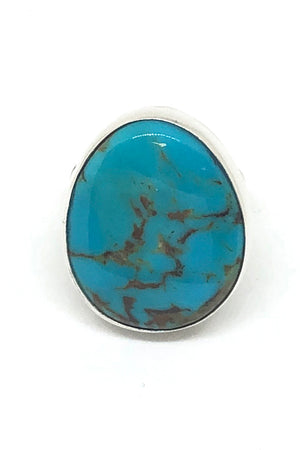 Everett and Mary Teller Oval Turquoise Ring (Size 8)