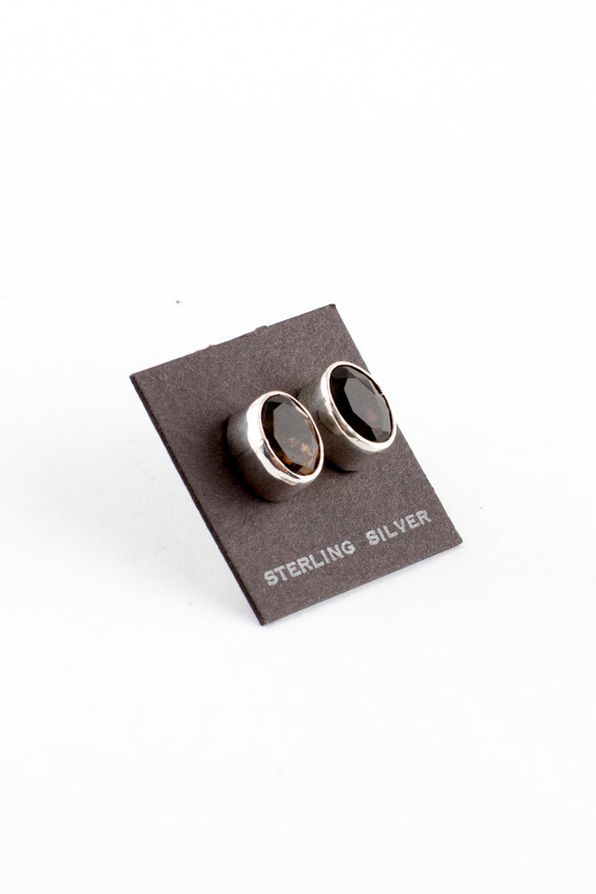 Smoky Topaz Post Earrings