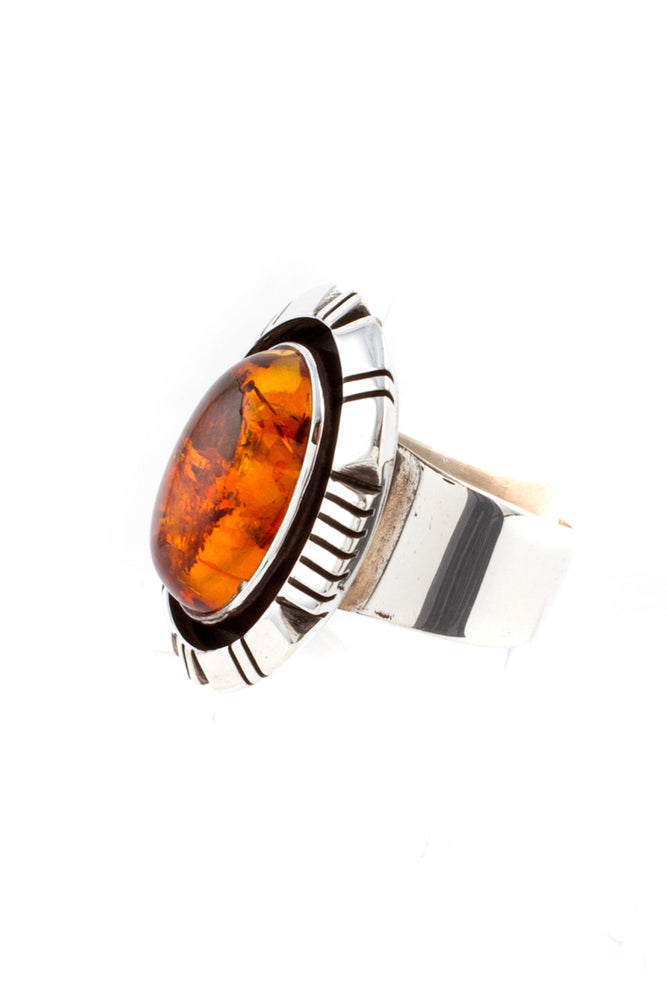Load image into Gallery viewer, Navajo Oval Amber Ring (Size 5 ¾)