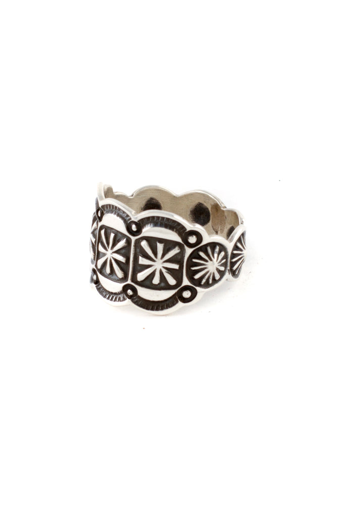 Andy Cadman Navajo Oxidized Hand-stamped Wide Band (Size 7 ½)