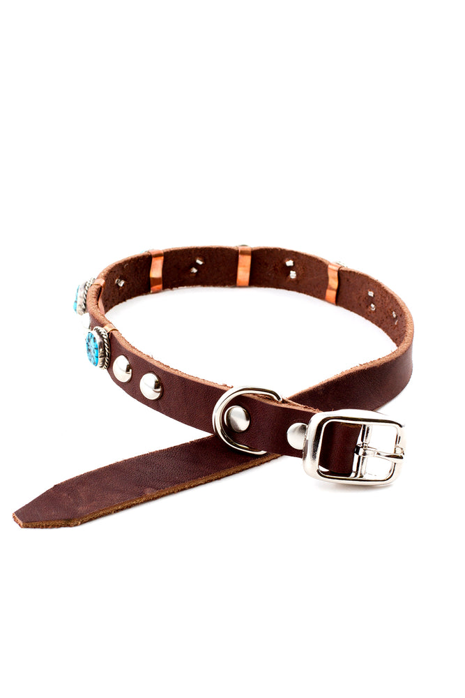 Navajo Genuine Turquoise and Leather Dog Collar