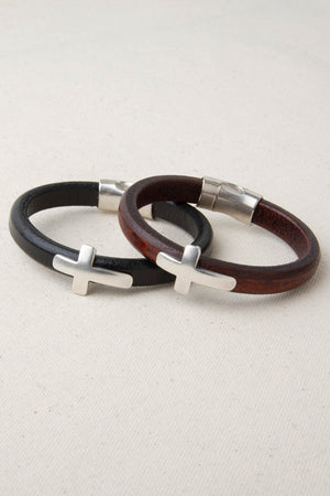 Brown Italian Leather Station Bracelet with Cross Accent