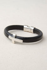 Black Italian Leather Station Bracelet with Cross Accent
