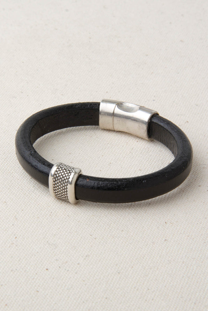 "Black Italian Leather Station Bracelet with ""Caviar"" Pewter Accent"