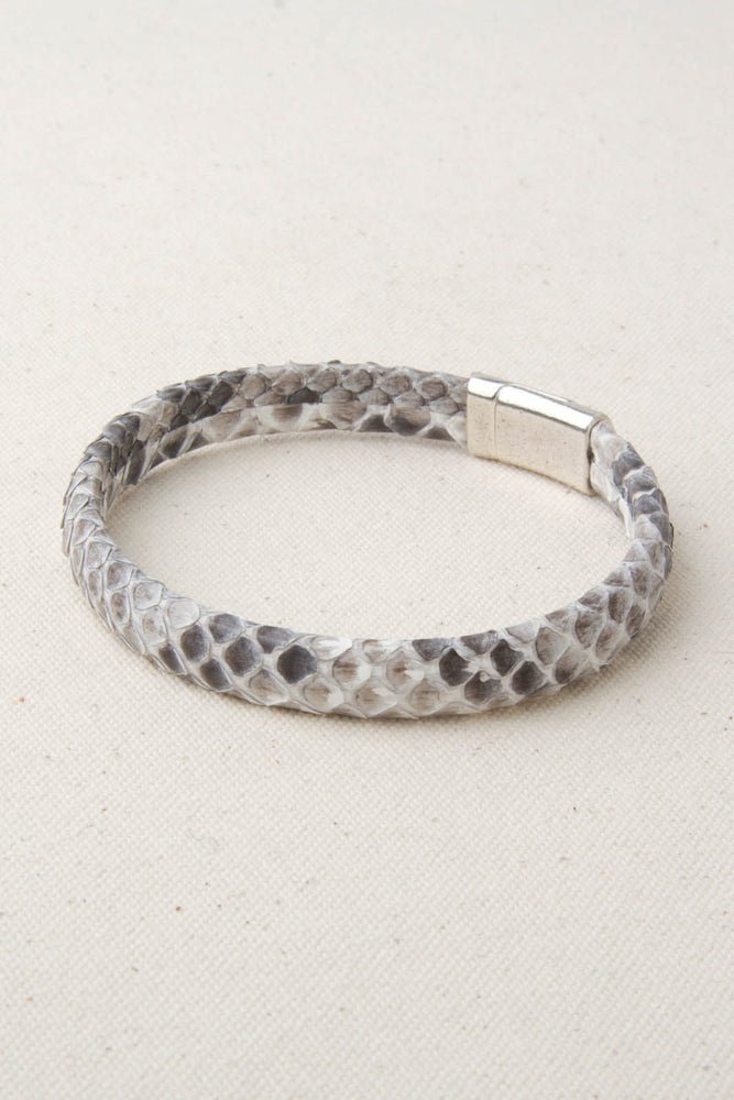 Grey Python Leather Station Bracelet