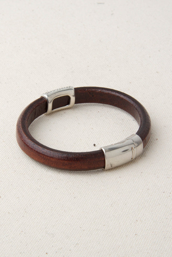 "Brown Italian Leather Station Bracelet with ""Cheetah"" Pewter Accent"