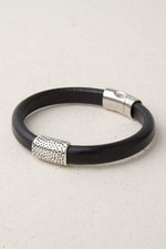 "Black Italian Leather Station Bracelet with ""Cheetah"" Pewter Accent"