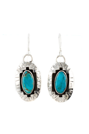 Everett and Mary Teller Kingman Turquoise Shadow Box Earrings