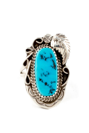 Navajo Traditional Turquoise Ring (Size 7)