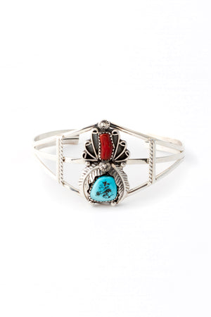 Traditional Navajo Coral and Turquoise Cuff Bracelet