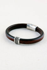 "Brown Italian Leather Station Bracelet with ""Caviar"" Pewter Accent"