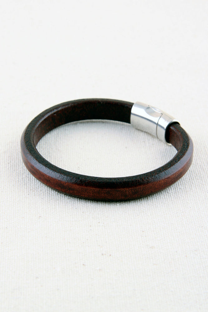 Brown Italian Leather Station Bracelet