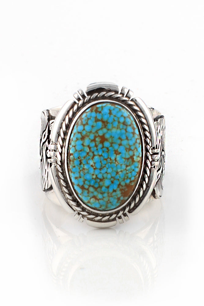 Load image into Gallery viewer, Number 8 Turquoise Navajo Men's Ring (Size 11.5)